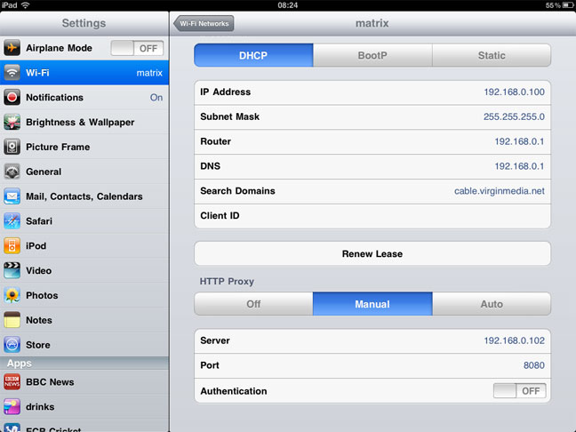 iPad proxy settings